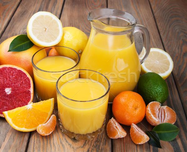 Vers citrus sap vruchten houten tafel vruchten Stockfoto © Es75