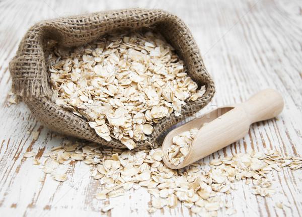 燕麦 小 黄麻布 木製 ストックフォト © Es75