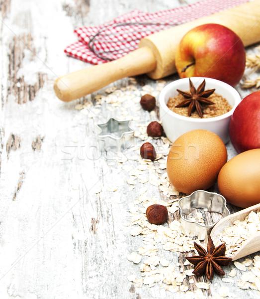 Sütés hozzávalók tojások diók fából készült alma Stock fotó © Es75