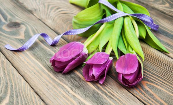 Tulpen lint houten Pasen bloem voorjaar Stockfoto © Es75