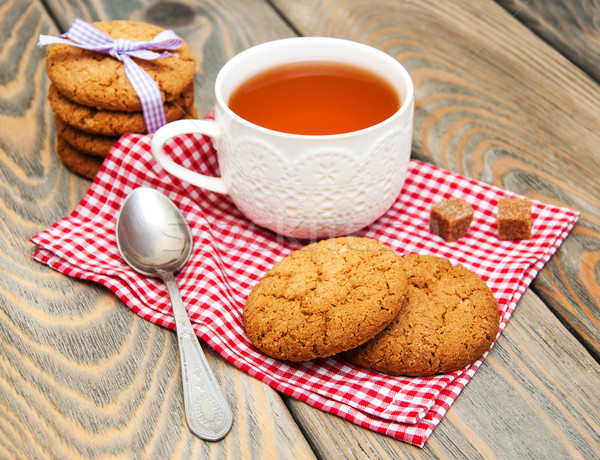 Csésze tea kása sütik fából készült étel Stock fotó © Es75