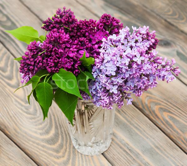 Vazo çiçekler ahşap ağaç doğa Stok fotoğraf © Es75