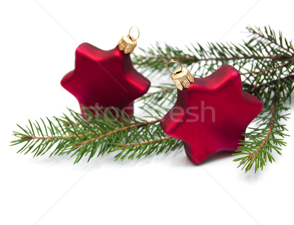 Christmas ornaments on white Stock photo © Es75