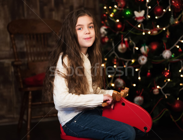 girl on a toy horse Stock photo © Es75