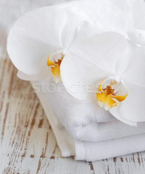 Orchids and spa towel Stock photo © Es75