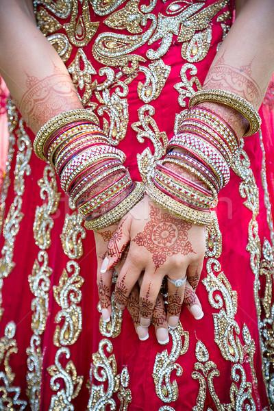 Menyasszonyok kezek ázsiai díszített Stock fotó © esatphotography