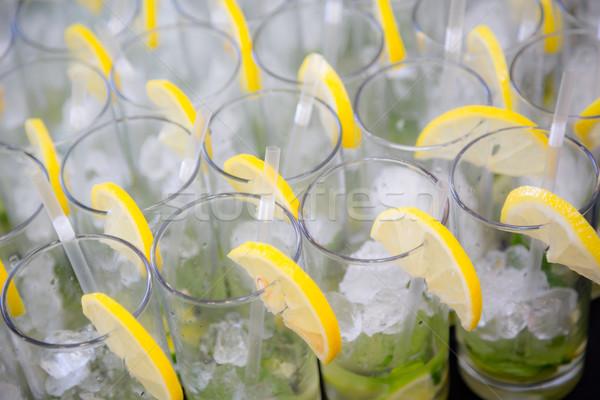 Cytryny plastry górę owoców Zdjęcia stock © esatphotography