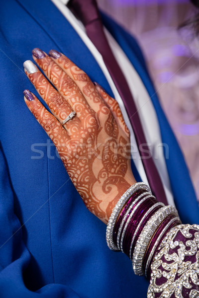 Stock fotó: Lila · gyűrű · vőlegény · menyasszonyok · kéz · mutat