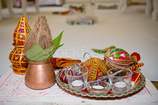 Esküvő esküvői ceremónia kókusz Stock fotó © esatphotography