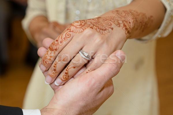 Stockfoto: Ring · hand · bruiden · trouwring · handen · bruiloft