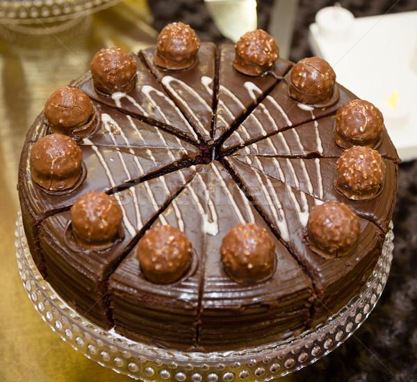 Csokoládés sütemény szeletel darabok fókusz középső csokoládé Stock fotó © esatphotography