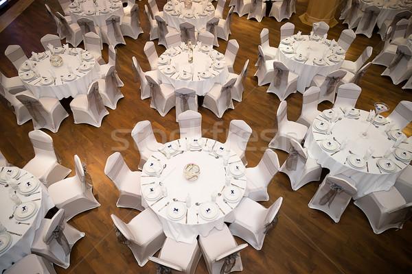 Top tabel ingesteld omhoog bruiloften Stockfoto © esatphotography