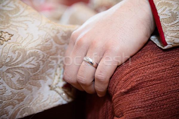 Pierścień pan młody skupić strony ślub czarny Zdjęcia stock © esatphotography