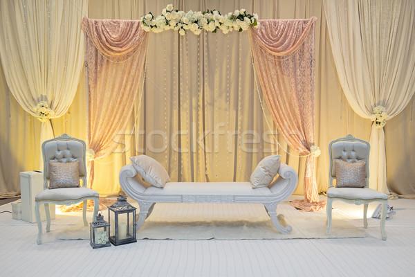 Esküvő színpad virágok pad recepció Stock fotó © esatphotography