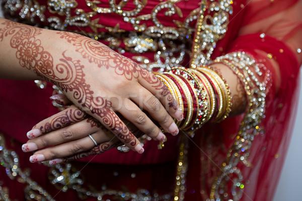 Menyasszony piros női ékszerek menyasszonyi Stock fotó © esatphotography