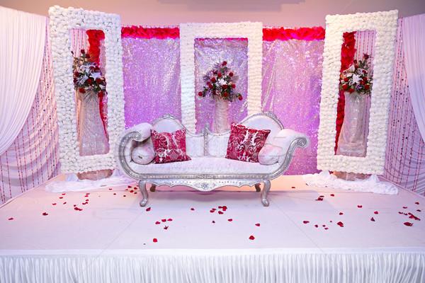 Piros lila indiai házasság színpad esküvő Stock fotó © esatphotography