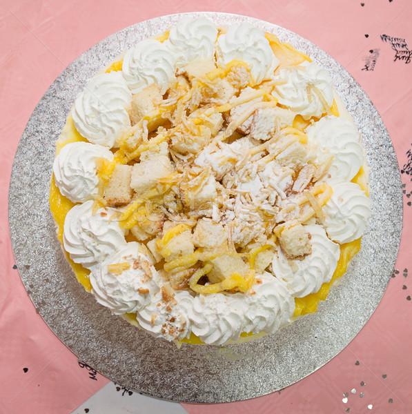 Vers room cake vla vruchten witte Stockfoto © esatphotography