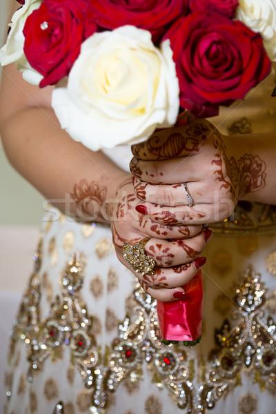 Bruid boeket tonen ring Stockfoto © esatphotography