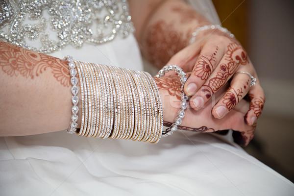 Kobieta strony ślub projektu tle oblubienicy Zdjęcia stock © esatphotography