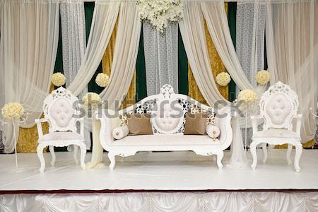 Arany esküvő színpad indiai házasság buli fény Stock fotó © esatphotography