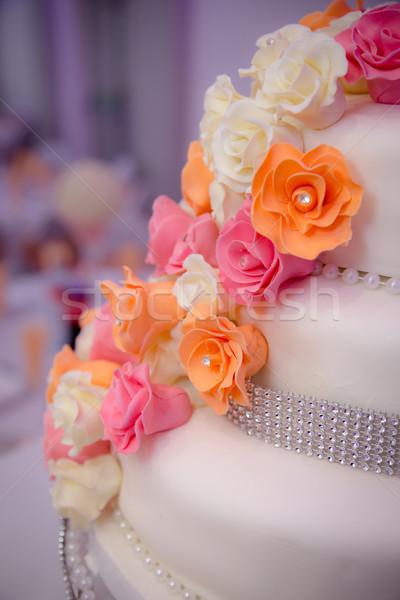 Jeges virágok esküvői torta Stock fotó © esatphotography