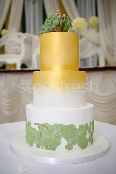 Yeşil altın düğün pastası Stok fotoğraf © esatphotography