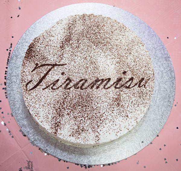 Tiramisu torta ezüst tábla rózsaszín étel Stock fotó © esatphotography