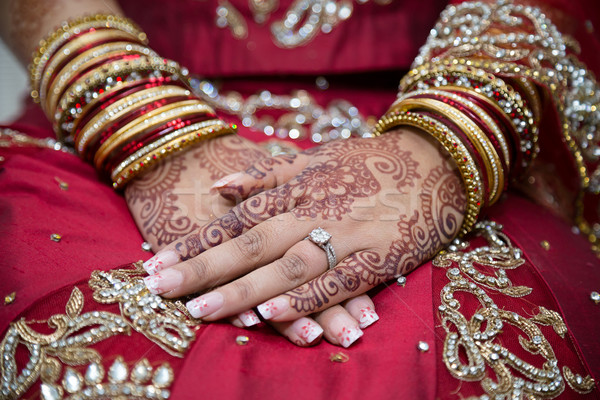 Brides hands with henna Stock photo © esatphotography