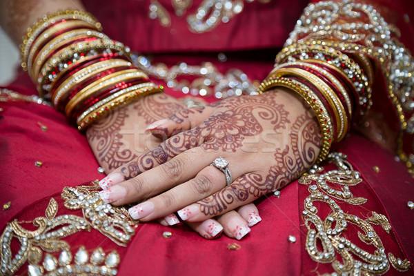 Menyasszonyok kezek henna indiai Stock fotó © esatphotography