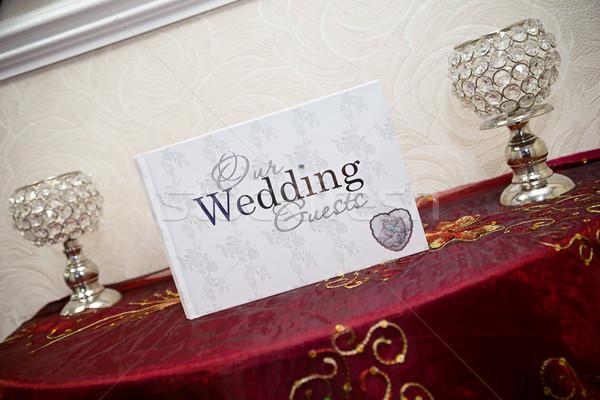 Esküvő vendégkönyv könyv felirat asztal tapéta Stock fotó © esatphotography