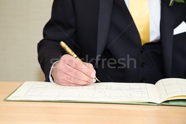 Vőlegény aláírás család papír felirat fehér Stock fotó © esatphotography