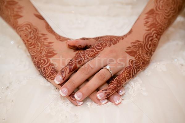 Menyasszonyok kezek fedett henna esküvő terv Stock fotó © esatphotography