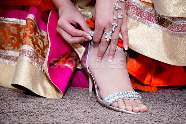 Stockfoto: Schoenen · bruid · zilver · model · haren · huwelijk