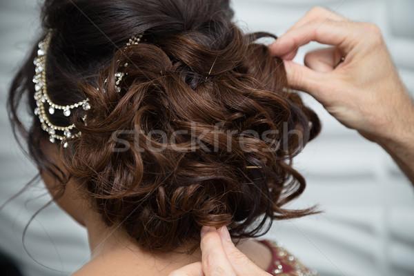 Bruiden kapsel haren bruiloft Stockfoto © esatphotography