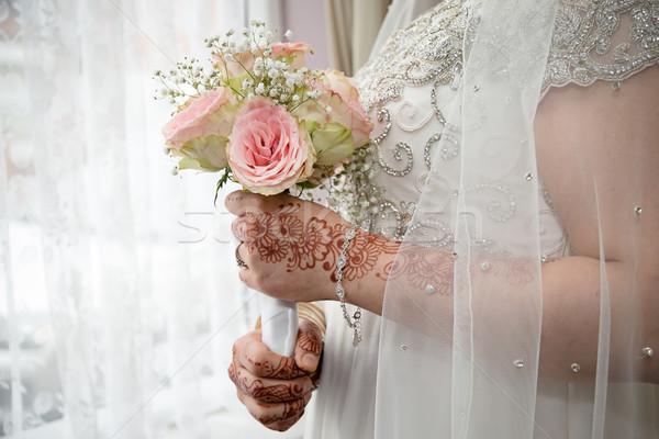 Tart rusztikus virágcsokor kezek terv háttér Stock fotó © esatphotography