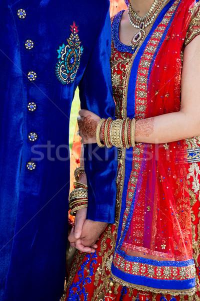 Bruid bruidegom vrouw hand schoonheid kunst Stockfoto © esatphotography