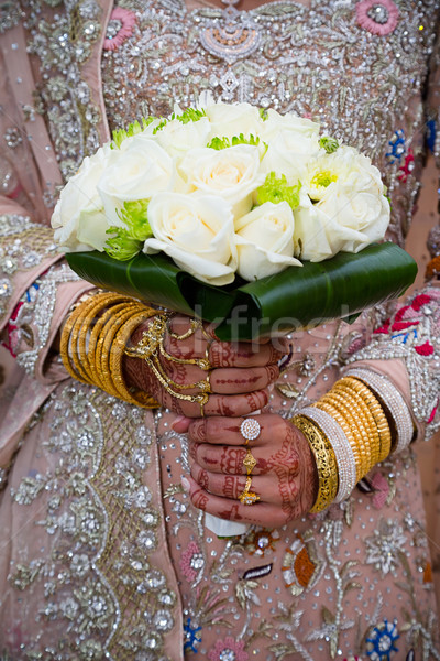 Bride holding bouquet Stock photo © esatphotography