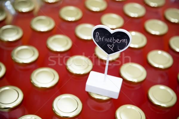 Eper címke ital italok étel fa Stock fotó © esatphotography