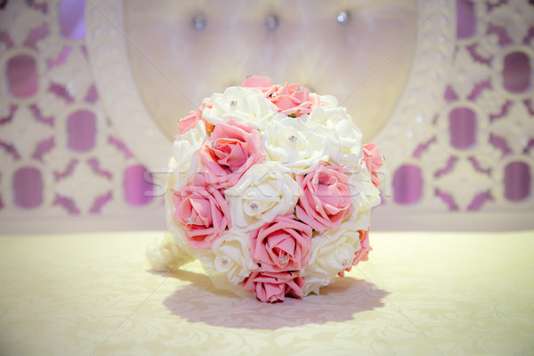 Pink and white bridal bouquet Stock photo © esatphotography