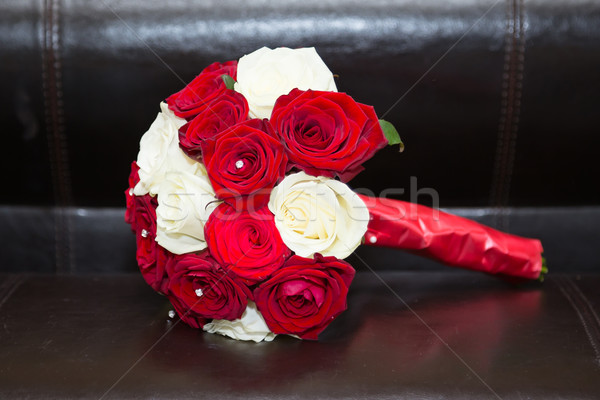 Red and white bridal bouquet Stock photo © esatphotography