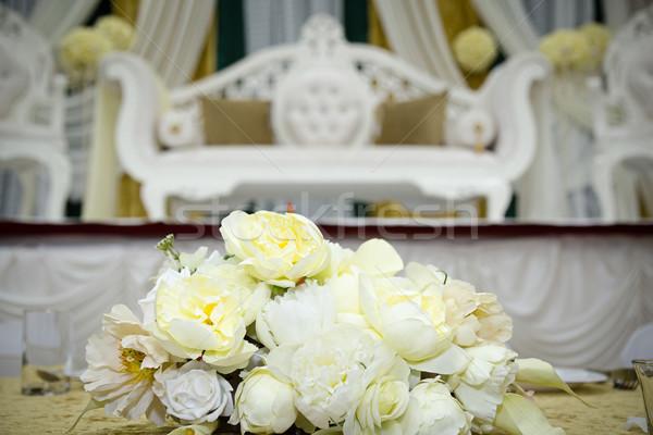 Virágmintás kirakat színpad virág Stock fotó © esatphotography