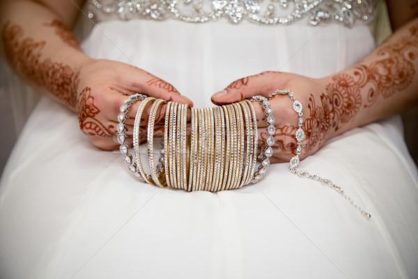Kezek esküvő divat háttér arany piac Stock fotó © esatphotography