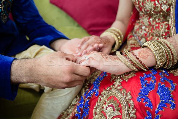Vőlegény kéz a kézben menyasszony nő kéz terv Stock fotó © esatphotography
