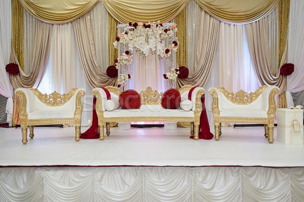 Piros arany esküvő színpad Stock fotó © esatphotography