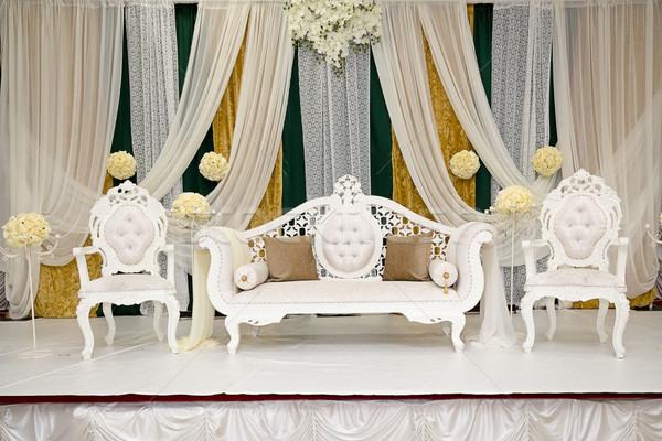 Zöld arany indiai házasság színpad esküvő Stock fotó © esatphotography