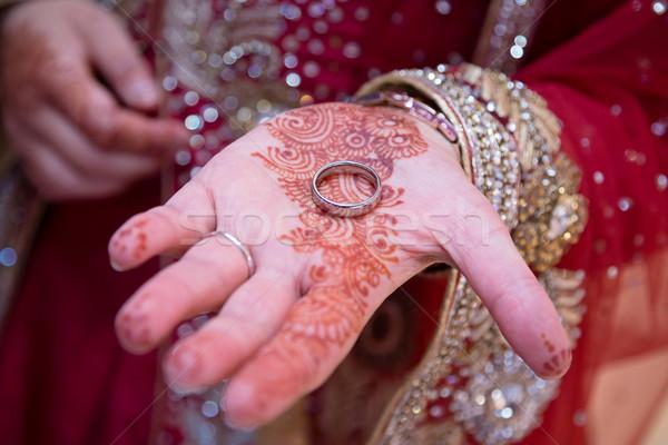 Stock fotó: Gyűrű · kéz · indiai · menyasszony · mutat · henna