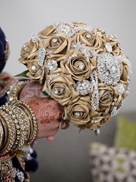 Goud boeket bruid bloem liefde Stockfoto © esatphotography
