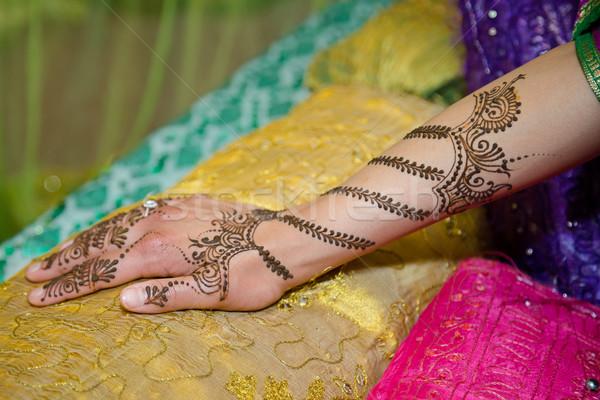 Kéz henna lányok tetoválás nő nők Stock fotó © esatphotography