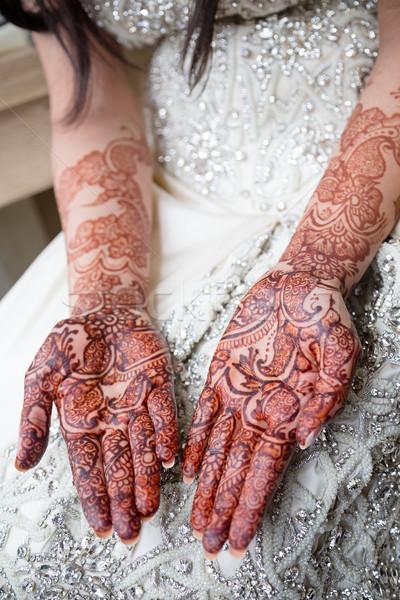 Menyasszonyi henna pálmafák menyasszonyok tetoválás lány Stock fotó © esatphotography