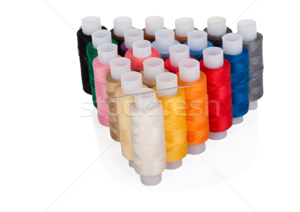 needle and color threads on white Stock photo © Escander81